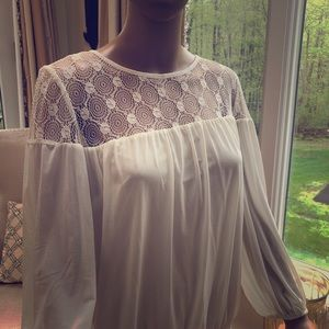 ECI ruched lace top